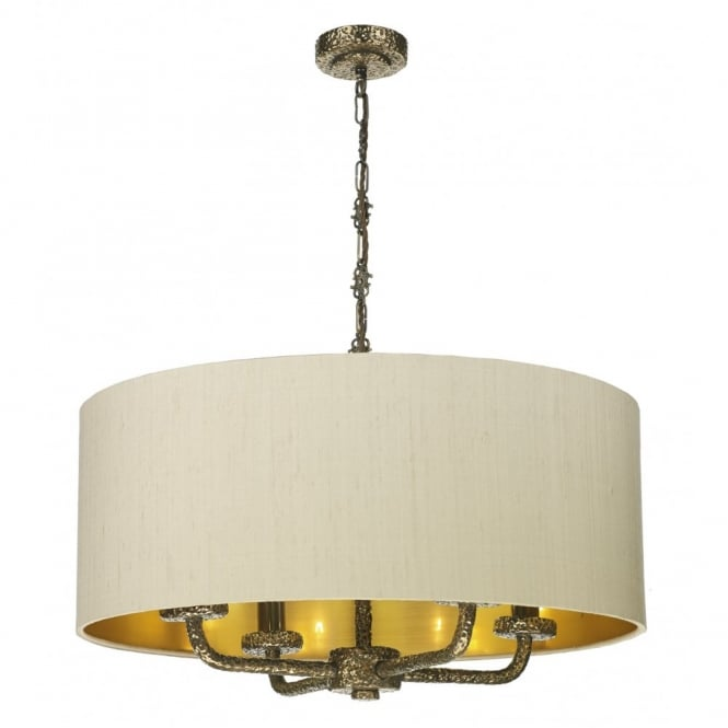 The David Hunt Lighting Collection SLOANE rich bronze textured ceiling pendant with silk shade
