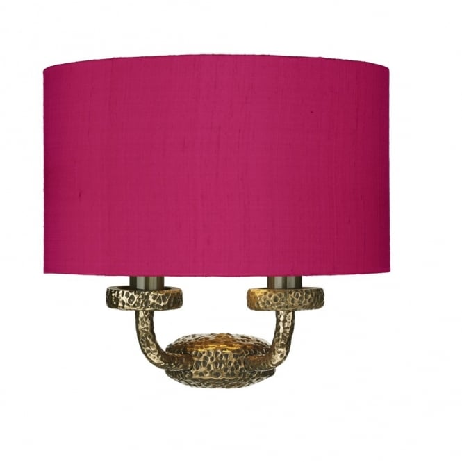 The David Hunt Lighting Collection SLOANE rich bronze textured wall light with silk shade