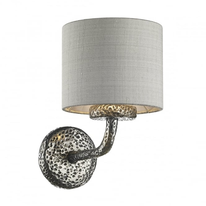 The David Hunt Lighting Collection SLOANE single pewter wall light with silk shade