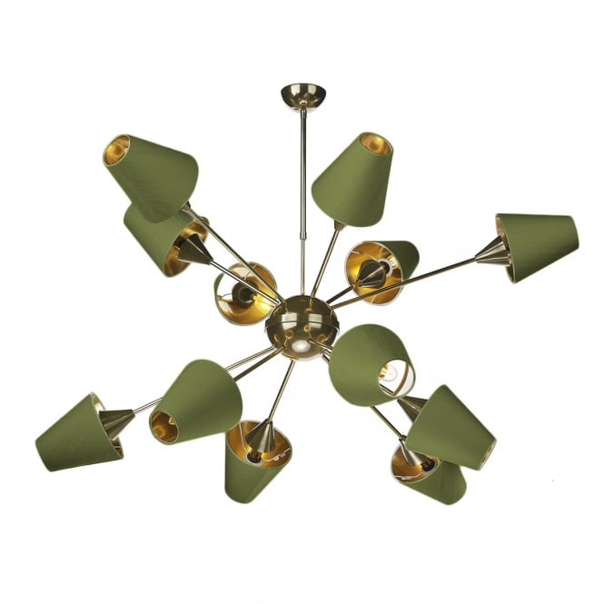 The David Hunt Lighting Collection SPUTNIK 12 Light Pendant Brass with Olive Green shades
