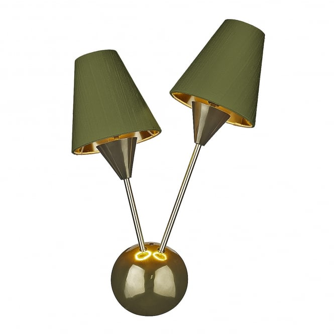 The David Hunt Lighting Collection SPUTNIK brass double wall light with olive green silk shades