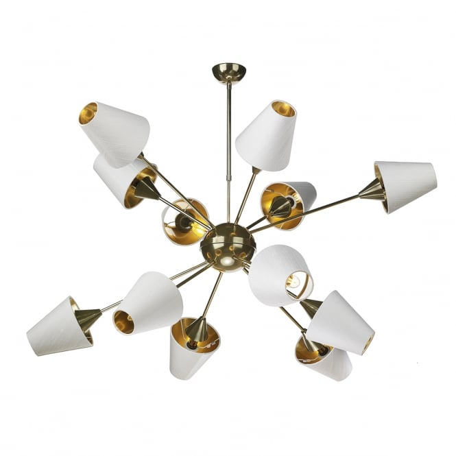 The David Hunt Lighting Collection SPUTNIK decorative 12 light brass pendant with ivory shades