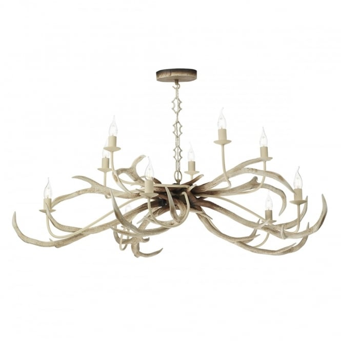 STAG rustic 10 light antler ceiling pendant in bleached finish