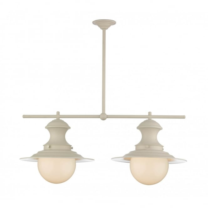 The David Hunt Lighting Collection STATION LAMP 2 light cream pendant