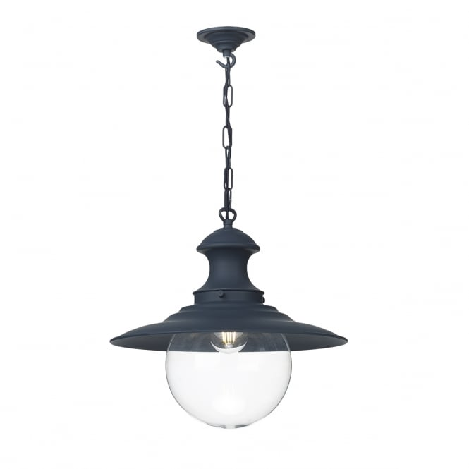 The David Hunt Lighting Collection STATION lamp in smoke blue with clear glass