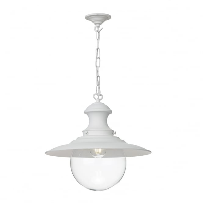 The David Hunt Lighting Collection STATION lamp in white finish with clear glass