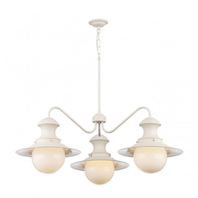 The David Hunt Lighting Collection STATION LAMP replica Victorian railway pendant light, cream