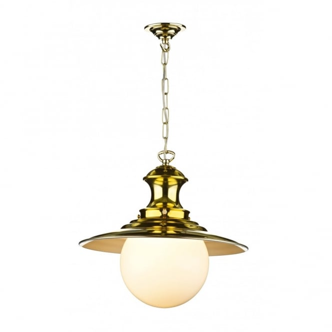 The David Hunt Lighting Collection STATION LAMP single brass pendant