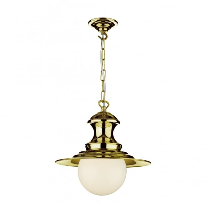 The David Hunt Lighting Collection STATION LAMP small brass ceiling pendant