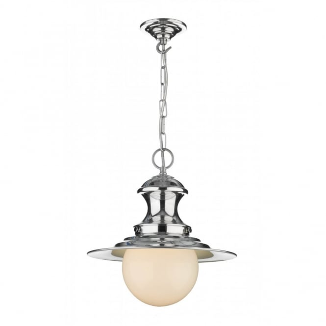 The David Hunt Lighting Collection STATION LAMP small chrome pendant, double insulated