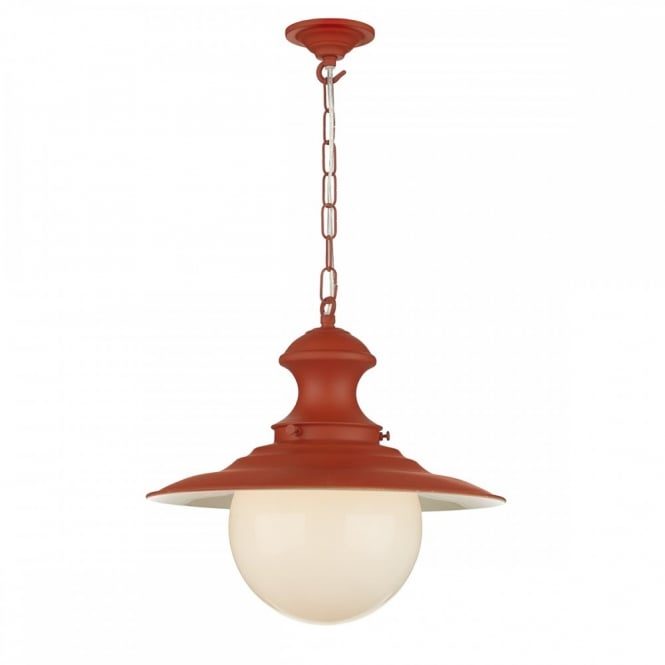 The David Hunt Lighting Collection STATION LAMP traditional burnt orange ceiling pendant