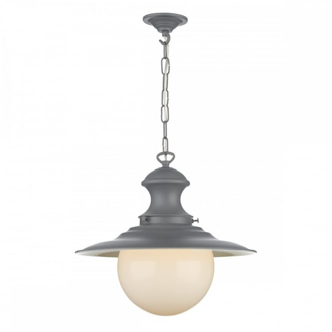 The David Hunt Lighting Collection STATION LAMP traditional lead grey ceiling pendant