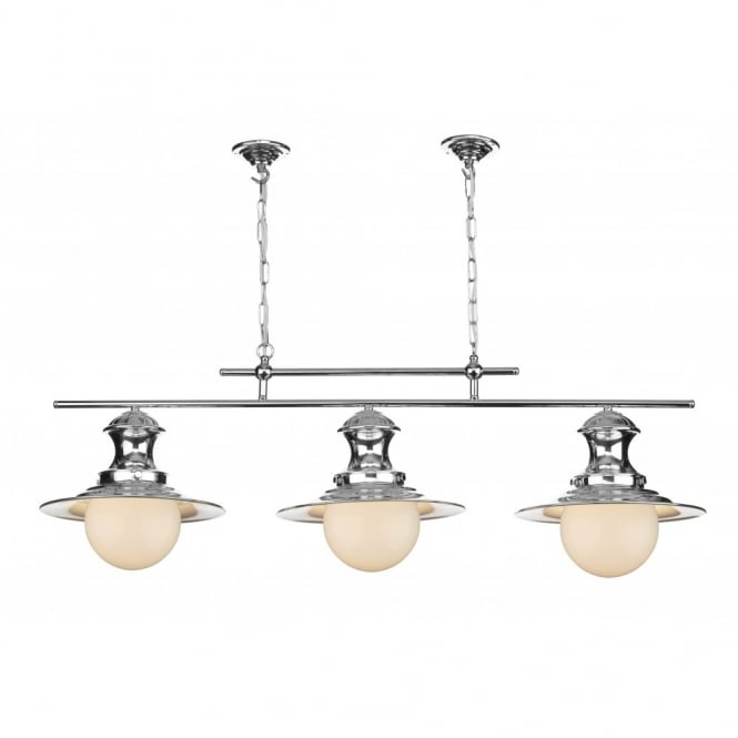 Station Lamp Triple Light Chrome Pendant