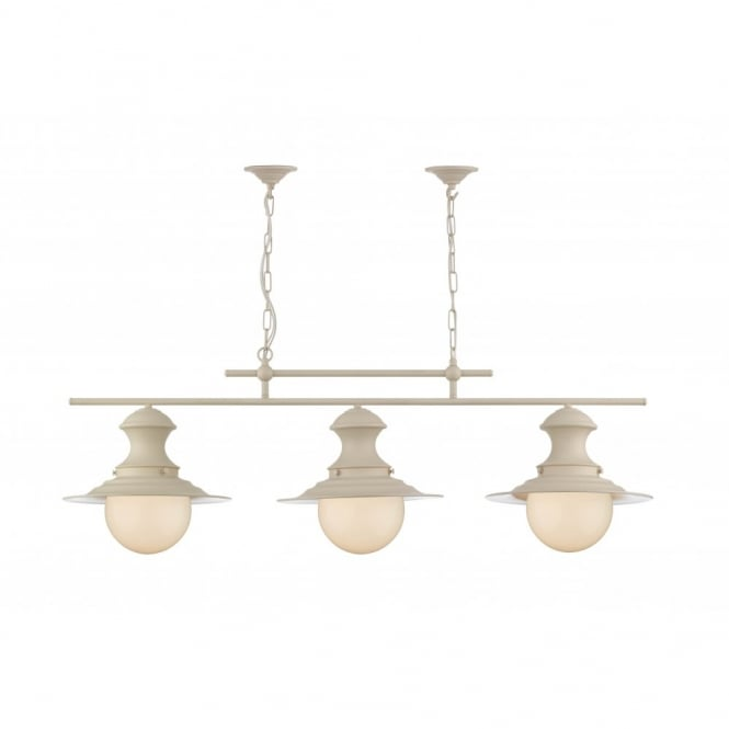 The David Hunt Lighting Collection STATION LAMP triple cream pendant
