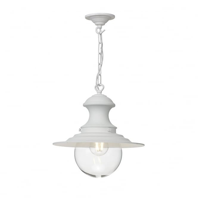 The David Hunt Lighting Collection STATION small white ceiling pendant with clear glass
