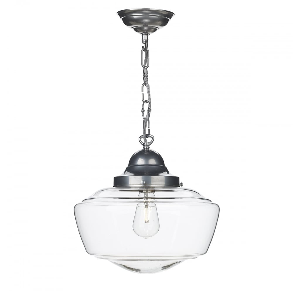 School House Style Ceiling Pendant In Satin Chrome Clear