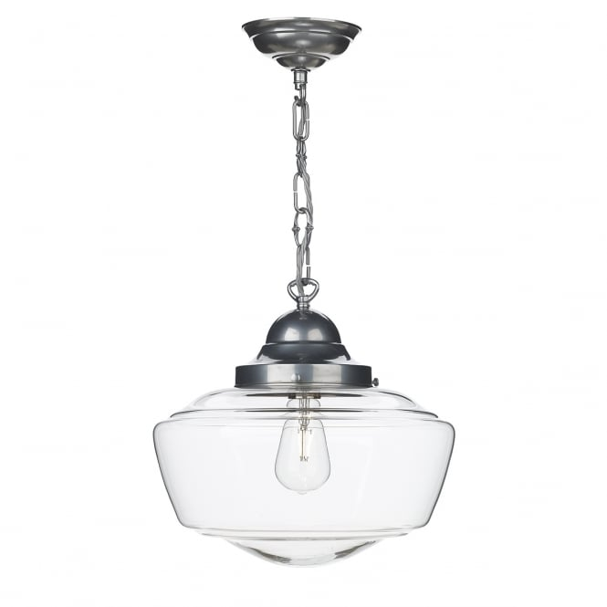 STOWE school house design pendant in satin chrome with clear glass shade
