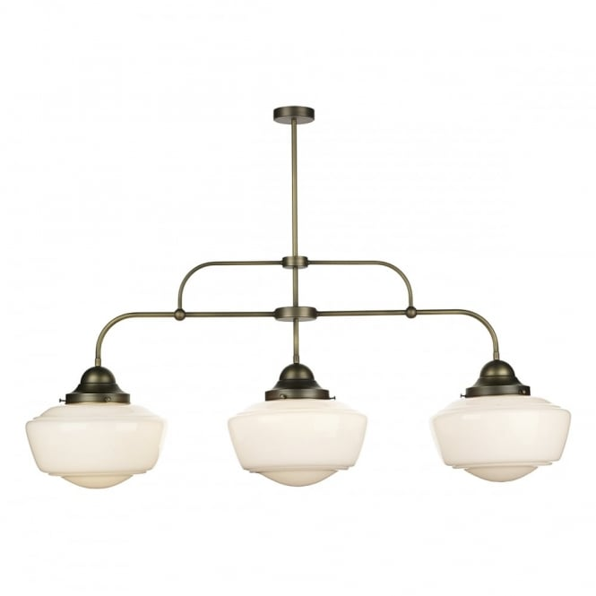 The David Hunt Lighting Collection STOWE vintage schoolhouse style 3 light pendant bar in brass finish with opal glass shades