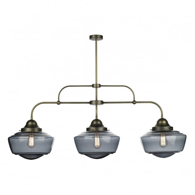 The David Hunt Lighting Collection STOWE vintage schoolhouse style 3 light pendant bar in brass finish with smoke glass shades