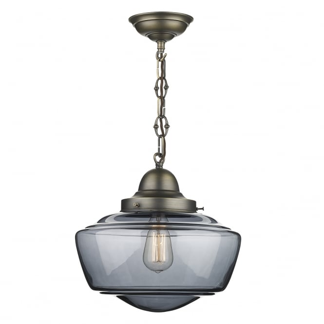 STOWE vintage schoolhouse style ceiling pendant with smoked glass shade