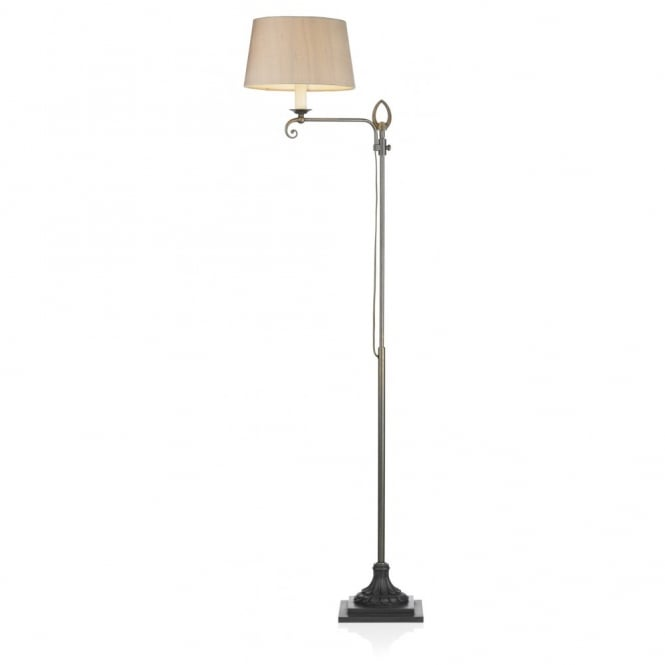 STRATFORD aged brass floor lamp and shade