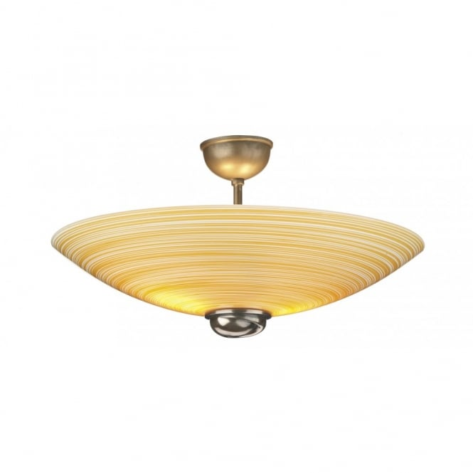 SWIRL amber glass ceiling uplighter