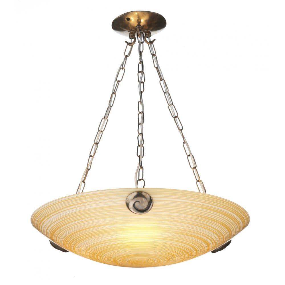 Swirl Bronze & Amber Glass Ceiling Uplighter