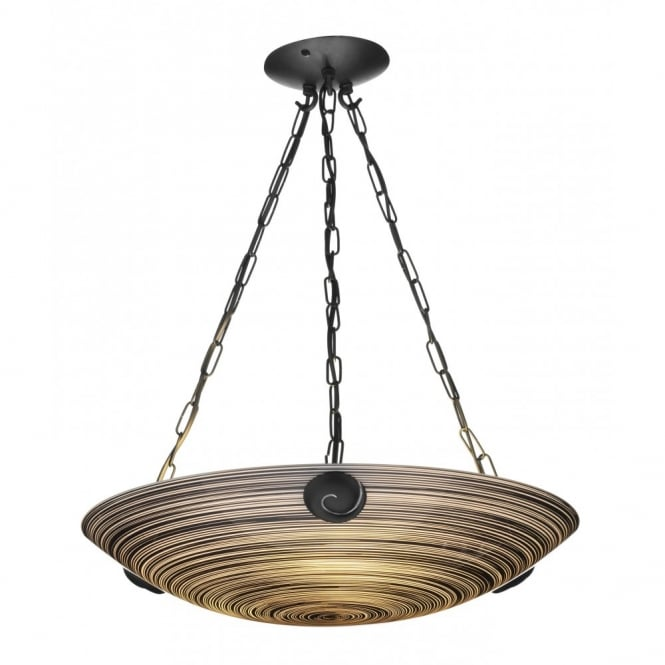 The David Hunt Lighting Collection SWIRL treacle glass ceiling uplighter