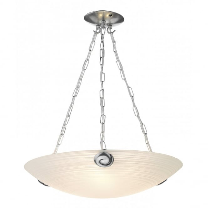 The David Hunt Lighting Collection SWIRL white glass uplighter ceiling pendant
