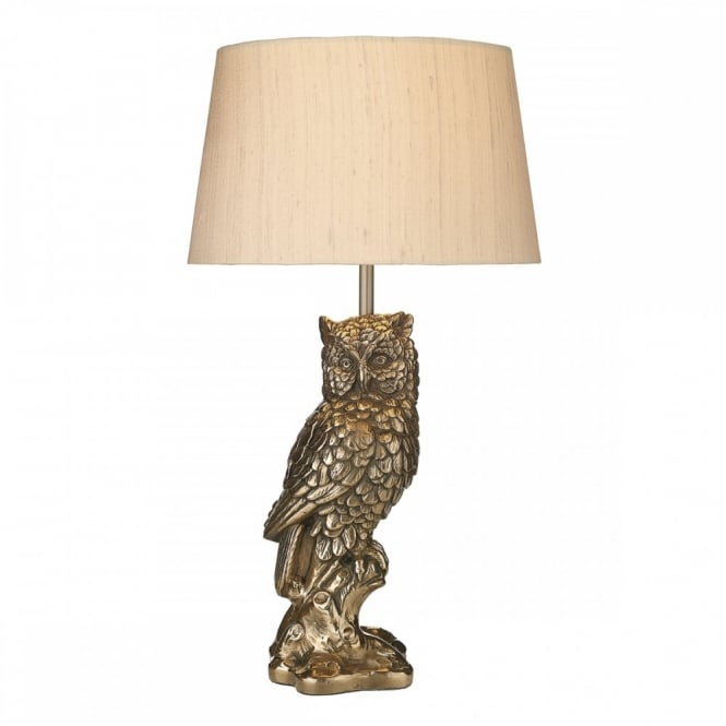 TAWNY cast bronze resin table lamp depicting an owl complete with shade.