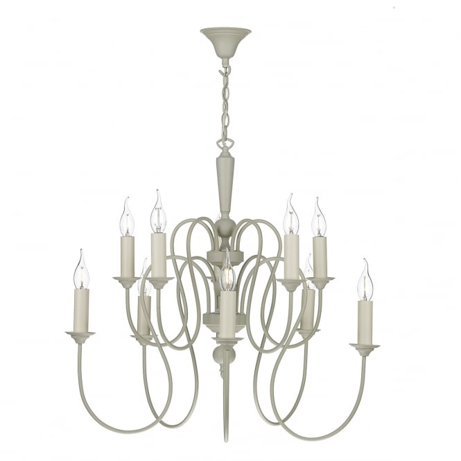 The David Hunt Lighting Collection THERESE 10 light traditional French cream ceiling pendant