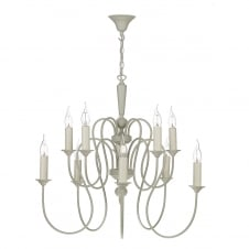 THERESE 10 light traditional French cream ceiling pendant