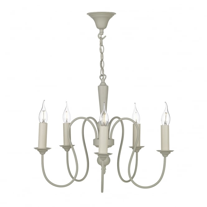 The David Hunt Lighting Collection THERESE traditional 5 light pendant in French cream finish