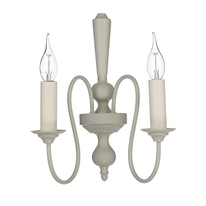 The David Hunt Lighting Collection THERESE traditional curved arm double wall light in French cream