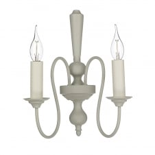 THERESE traditional curved arm double wall light in French cream