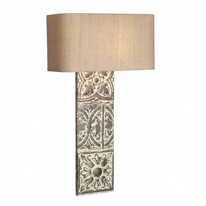 The David Hunt Lighting Collection TILE rustic stone bronze wall light complete with silk shade