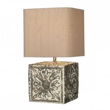 TILE stone effect table lamp, complete with shade.