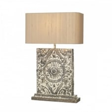 TILE table lamp complete with shade, an aged rustic look.