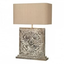 TILE table lamp complete with shade, embossed carved stone effect