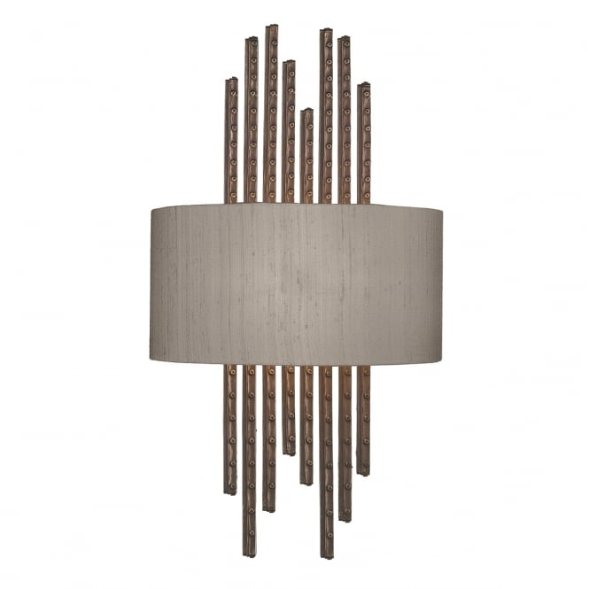 The David Hunt Lighting Collection TWAIN copper wall washer with silk shade