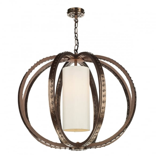 The David Hunt Lighting Collection TWAIN industrial globe cage pendant in copper with ivory silk inner shade