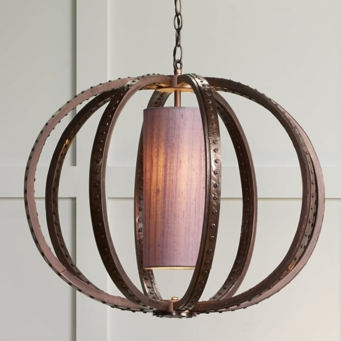 The David Hunt Lighting Collection TWAIN industrial globe cage pendant in copper with silk inner shade (colour options)