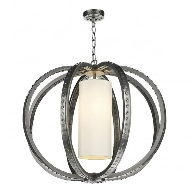 The David Hunt Lighting Collection TWAIN industrial globe cage pendant in pewter with ivory silk inner shade