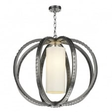 TWAIN industrial globe cage pendant in pewter with ivory silk inner shade