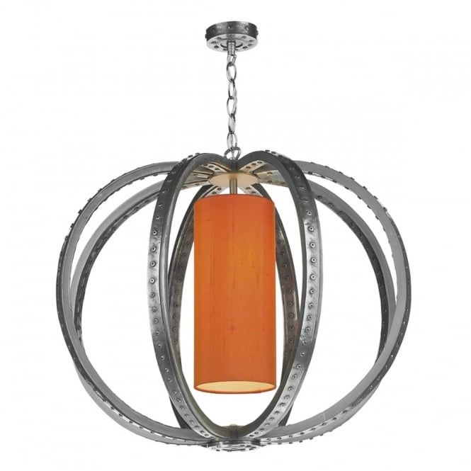 The David Hunt Lighting Collection TWAIN industrial globe cage pendant in pewter with silk inner shade (colour options)