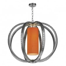 TWAIN industrial globe cage pendant in pewter with silk inner shade (colour options)