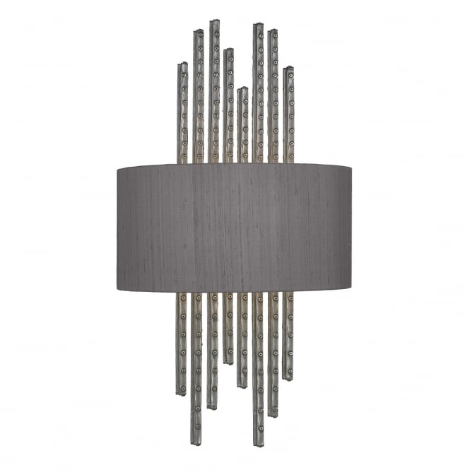 The David Hunt Lighting Collection TWAIN pewter wall washer with silk shade