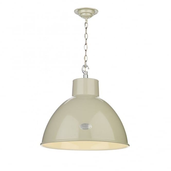 The David Hunt Lighting Collection UTILITY retro ceiling pendant in a French cream finish