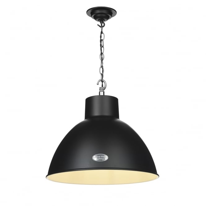 The David Hunt Lighting Collection UTILITY retro ceiling pendant in a matte black finish