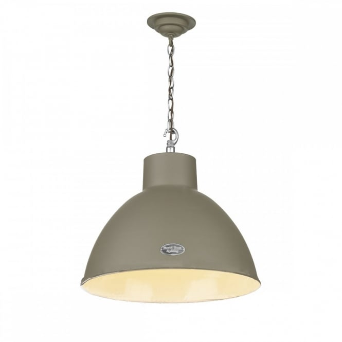 The David Hunt Lighting Collection UTILITY retro ceiling pendant in mole brown finish (large)
